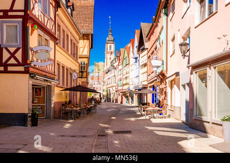 Beautiful scenic view of the old town in Tauberbischofsheim - part of the Romantic Road, Bavaria, Germany - Stock Photo