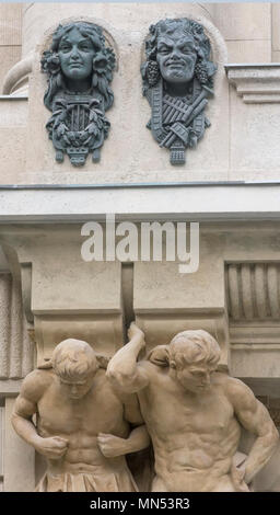 Detail of the Liszt Ferenc Music Academy facade,after the 2013 renovation,Budapest,Hungary.The conservatory founded on 1875. - Stock Photo