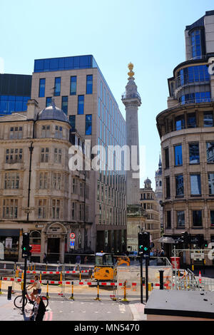 Monument to the Great Fire of London viewed from King William Street designed by Christopher Wren City of London England UK - Stock Photo