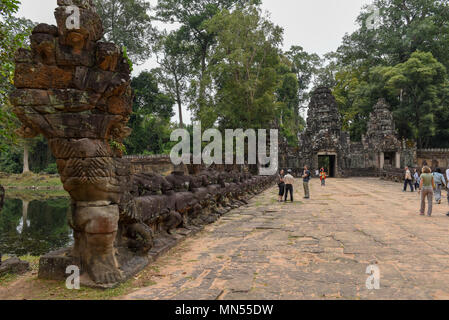 Siem Reap, Cambodia - 11 January 2018: Entrance to ancient Preah Khan temple in Angkor. Siem Reap, Cambodia - Stock Photo