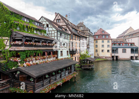 Traditional half-timbered houses in La Petite France, old town of Strasbourg, France - Stock Photo