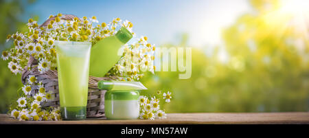 Gel for washing and tonic with chamomile extract in bottle and chamomile flowers - Stock Photo