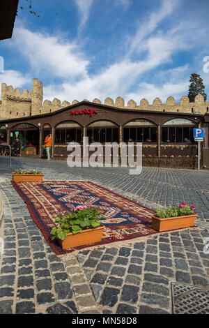 Street in Baku old town. Baku, Azerbaijan, march 2018. - Stock Photo