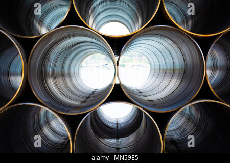 plumbing iron pipes, industry, manufacture of iron pipes - Stock Photo