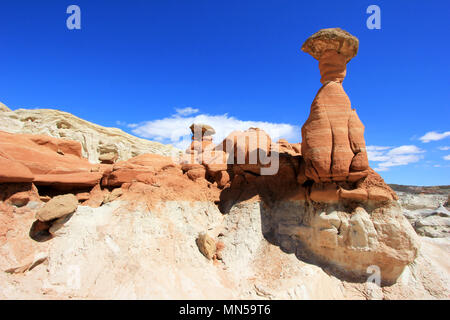 Toadstool Hoodoos, Paria Rimrocks in Grand Staircase-Escalante National Monument, Utah - Stock Photo