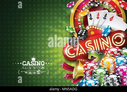 Casino Illustration with roulette wheel and playing chips on green background. Vector gambling design with poker cards and dices for party poster, greeting card, invitation or promo banner. - Stock Photo