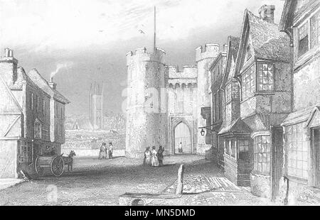 KENT. West Gate, Canterbury, Kent. DUGDALE 1845 old antique print picture - Stock Photo