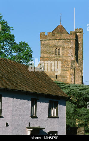 St Mary's church tower and cottages in the historic town of Battle, near Hastings, East Sussex - Stock Photo