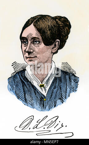 Dorothea Dix, with autograph. Hand-colored woodcut - Stock Photo