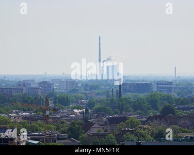Krakow Rynek Market square with the CHP Coal Power Plant in the distance viewed from the Mariacki tower of St Marys Basilica Poland - Stock Photo