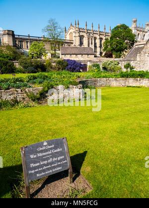 Christ Church War Memorial Garden, Christchurch Oxford, University of Oxford, Oxford, Oxfordshire, England, UK, GB. - Stock Photo