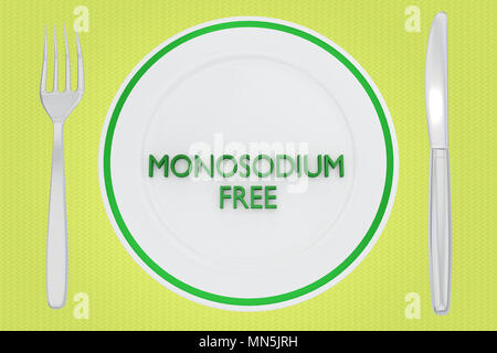 3D illustration of MONOSODIUM FREE title on a white plate, along with silver knif and fork, on a pale green background. - Stock Photo