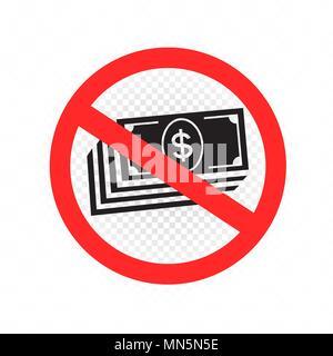 no cash sign symbol icon - Stock Photo