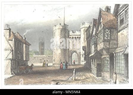 KENT. West Gate. Canterbury. Hand coloured (Dugdale) 1835 old antique print - Stock Photo