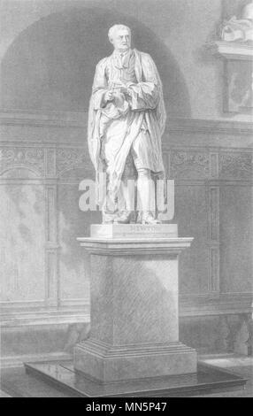 CAMBRIDGE. Trinity College. Statue of Sir Isaac Newton. (Le Keux) c1842 print - Stock Photo