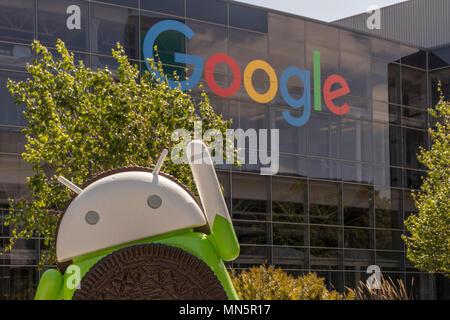 Mountain View, California, USA - April 30, 2018: Google's Silicon Valley corporate headquarters, Mountain View, Northern California, USA. - Stock Photo
