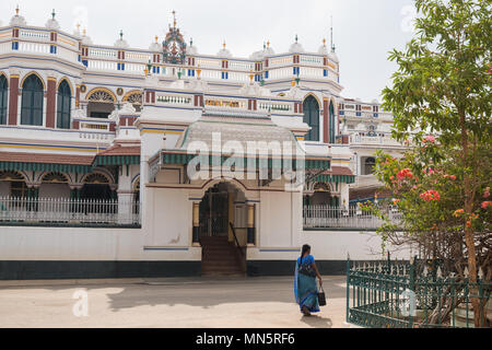Kanadukathan, India - March 12, 2018: Palace in the small Tamil Nadu town, one of the many mansions built in Chettinad in the last century - Stock Photo