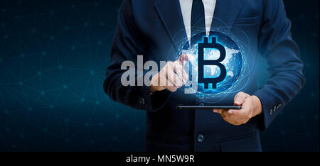 Bitcoin block chain World map security system Digital currency Financial business in the online world - Stock Photo