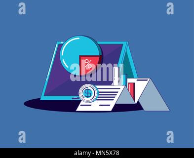 tablet with financial technology related icons over blue background, colorful design. vector illustration - Stock Photo