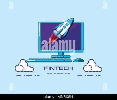 Fintech concept with computer and rocket over blue background, vector illustration - Stock Photo