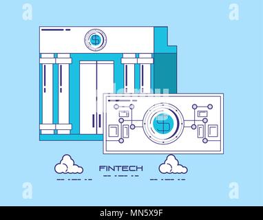 financial technology concept with bank building and money bill over blue background, vector illustration - Stock Photo