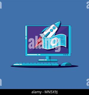 Fintech design with computer and rocket over blue background, colorful design. vector illustration - Stock Photo