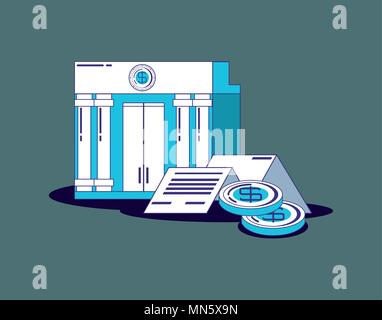 financial technology concept with bank building and coins over gray  background, vector illustration - Stock Photo