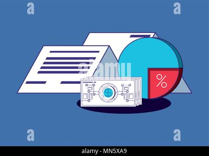 pie chart and financial technology related icons over blue background, colorful design. vector illustration - Stock Photo