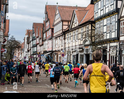 Running event 'Wasalauf', downtown Celle, along half-timbered houses, Celle, Germany - Stock Photo