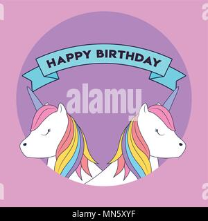 Happy birthday design with cute unicorns  icon and decorative ribbon over purple background, colorful design. vector illustration - Stock Photo