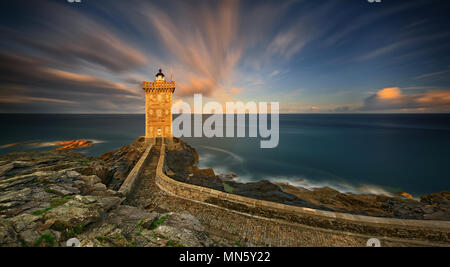 The Lighthouse of Kermorvan is a monument in the municipality of Le Conquet (Finistère, Brittany) - Stock Photo
