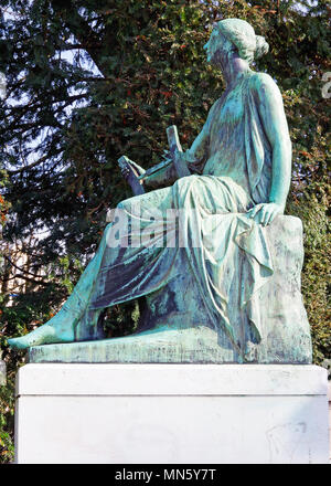 Polyhymnia, the Muse of Lyrical Poetry, part of the Goethe Memorial in front of the  University Palace in Strasbourg - Stock Photo