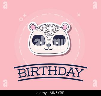 Happy birthday design with cute raccoon over pink background, colorful design. vector illustration - Stock Photo