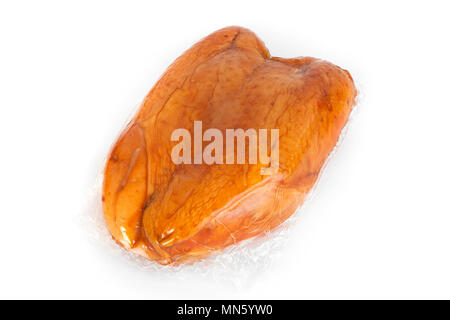 Smoked chicken on a white background.  Golden hen with a crispy crust. Delicious fried grill meat. Salivating run. Meat delicacy. Brilliant fat. Bon A - Stock Photo
