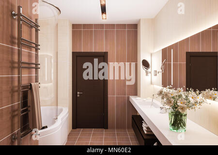 Interior Design Of A Modern Bathroom With A Large Mirror. 3d Illustration  In Warm Colors