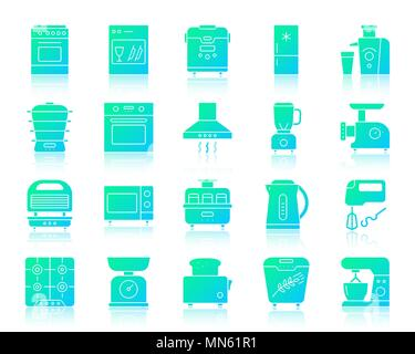 Kitchen Appliances silhouette icons set with reflection. Color web sign kit of equipment. Kitchen vector icon collection includes steamer, chopper, gr - Stock Photo
