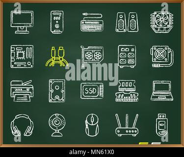 Computer chalk icons set. Outline web sign kit of electronics. Computer linear icon collection includes usb, flash, cable. Simple hand drawn doodle sy - Stock Photo