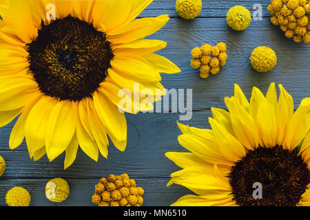 Yellow Flowers on Blue Table including Sunflowers, Craspedia and Clustered Everything - Stock Photo