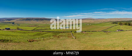 North Pennines Landscape, panoramic view towards Cronkley Scar and Widdybank Fell over  Langdon Beck from High Hurth Edge on a fine spring day - Stock Photo