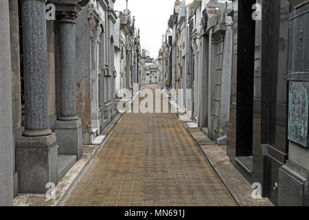 Walkway or mall at Recoleta Cemetery, Buenos Aires, Argentina. - Stock Photo