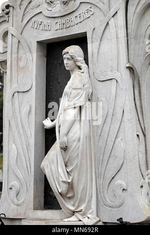 Rufina Cambacérès art deco style tomb. Legend states Buried alive by mistake. Recoleta cemetery, - Stock Photo