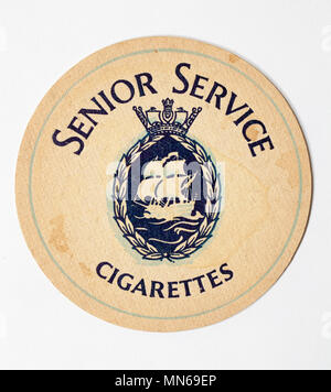 British Beer Mat advertising Senior Service Cigarettes - Stock Photo