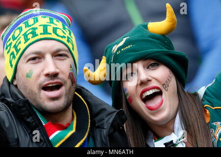 Fans during the IRB RWC 2015 Quarter Final match between Wales v RSA South Africa at Twickenham Stadium. London, England. 17 October 2015 - Stock Photo