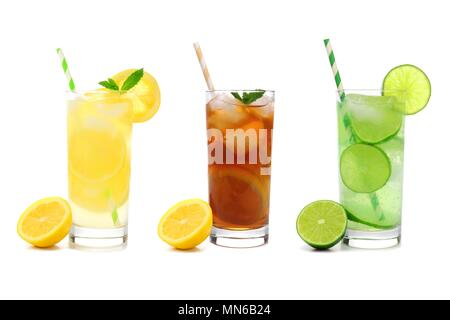 Three glasses of summer lemonade, iced tea, and limeade drinks with straws isolated on a white background - Stock Photo