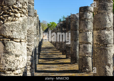 Ruins of Chichen Itza, Columns in the Temple of a Thousand Warriors,  Yucatan, Mexico - Stock Photo