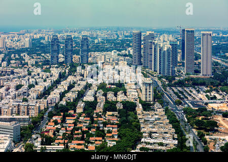Aerial view of residential buildings and modern office towers in Tel Aviv, Israel. - Stock Photo
