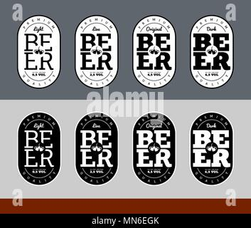 Beer Label Design black and white set light original live dark - Stock Photo