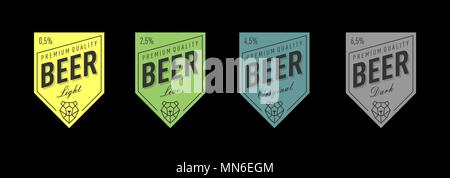 Beer label design with bear head line vector light live original dark vector - Stock Photo