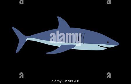 Shark vector illustration on black background - Stock Photo