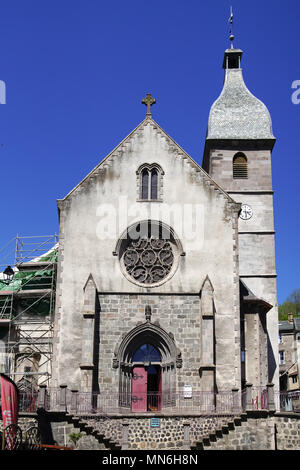 Church in Murat, commune in the Cantal department in the Auvergne region in south-central France. - Stock Photo